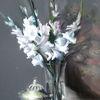 Blumen, Gladiolen, Weiß, Tisch