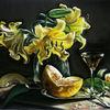 Lilien, Gelb, Tisch, Blumen
