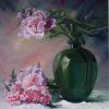 Ölmalerei, Rosa, Glasvase, Pink