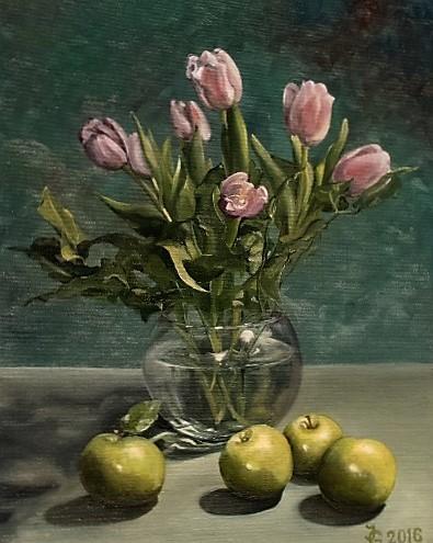 Blumen, Pink, Blumenstrauß, Glasvase, Grün, Apfel