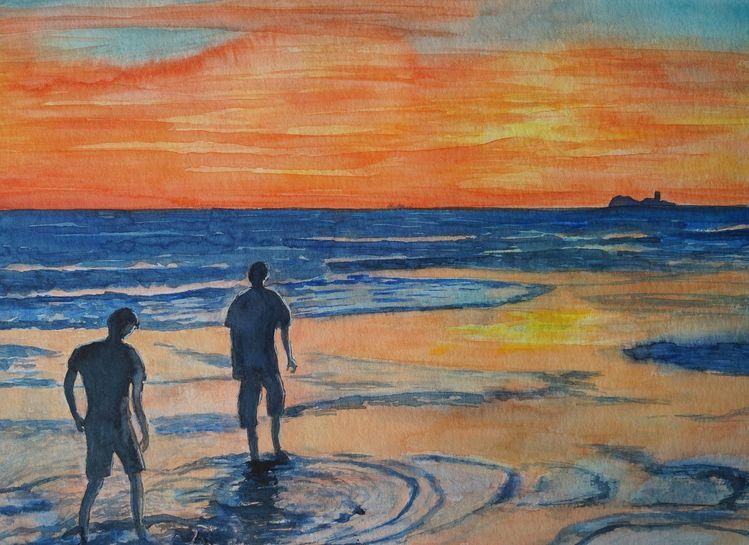 Sonnenuntergang, Strand, Menschen, Aquarell, Abendlicht, Meer