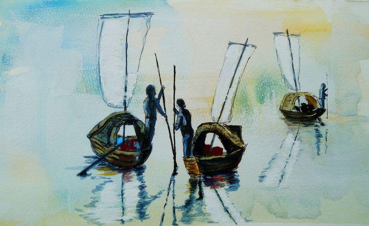 Spiegelung, Boot, Fischer, Nebel, Mischtechnik