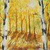 Birken, Herbst, Wald, Aquarell