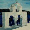 Glockenturm santorini, Sonne schatten, Meer, Blau