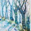 Winter, Baum, Aquarell