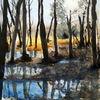 Wald, Sumpf, Spiegelung, Aquarell