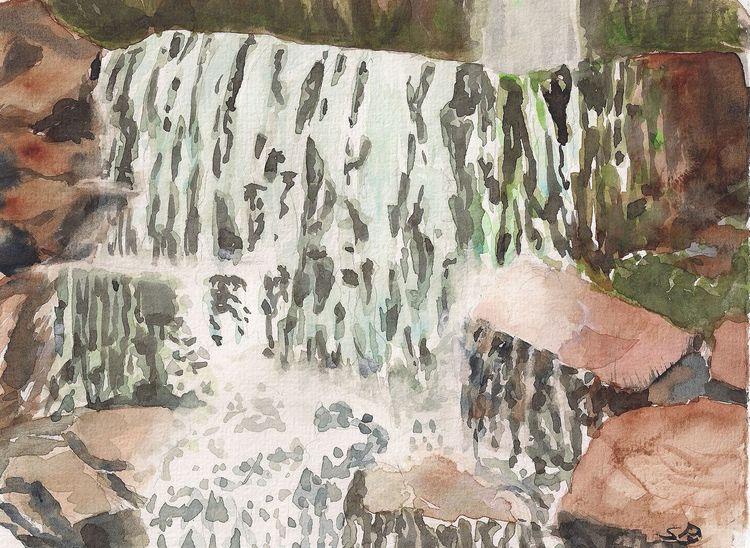 Wasserfall, Stein, Aquarellmalerei, Aquarell