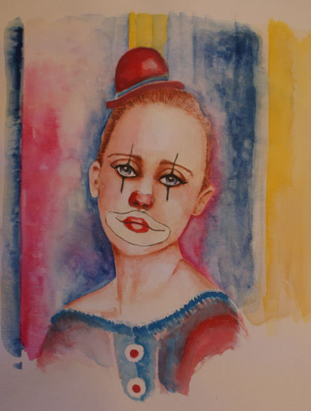 Mädchen, Gesicht, Trauriger clown, Aquarellmalerei, Clown, Aquarell