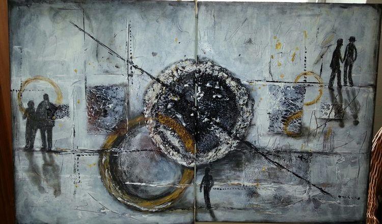 Acrylmalerei, Struktur, Malerei, Welt,