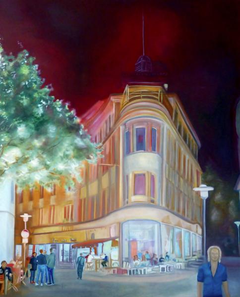 Spaziergang, Malerei, Kasyanov, Menschen, Spaziergang durch recklinghausen, Ölmalerei