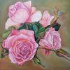 Rose, Schmetterling, Gemälde, Stillleben