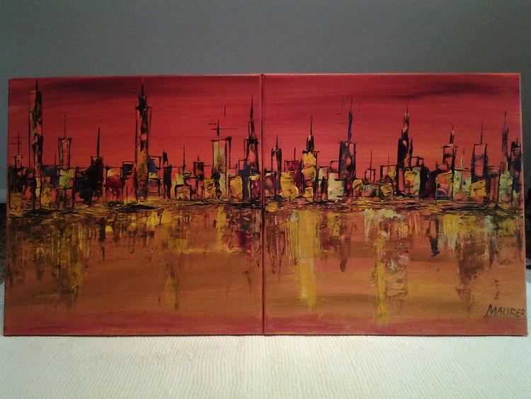 Sonnenuntergang, Abstrakt, Geschpachtelt, Acrylmalerei, Meer, Malerei