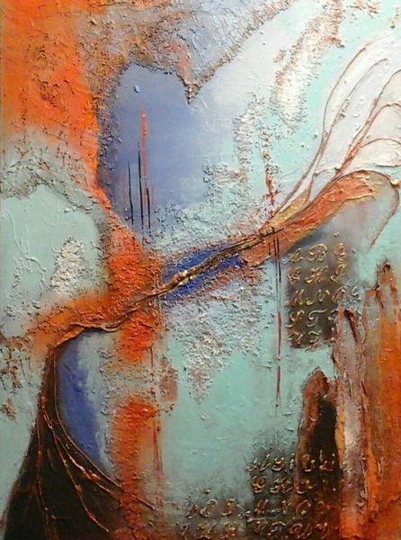 Abstrakte acryl bild, Tal, Fantasie, Mischtechnik