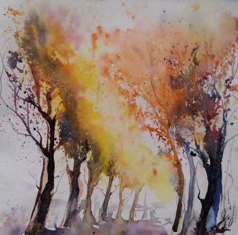 Malerei, Landschaft, Herbst, Aquarell