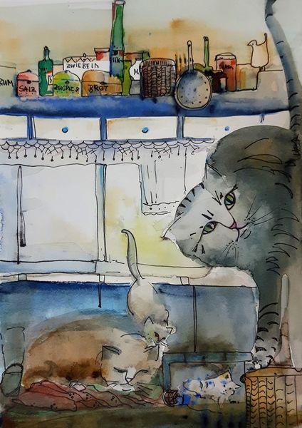 Katze, Haus, Küche, Illustrationen
