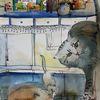 Küche, Katze, Haus, Illustrationen