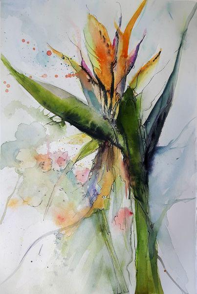 Strelitzia, Gelbe blüte, Blumen, Aquarell,