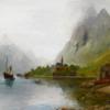 Fjord, Schiff, Meer, Digitale kunst
