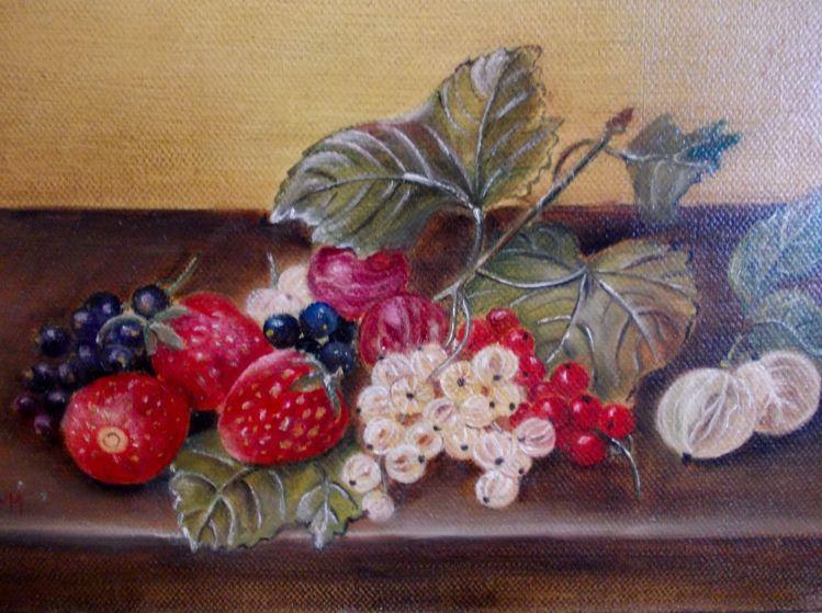 Realismus, Beerenfrüchte, Obst, Erdbeeren, Alt meister technik, Ölmalerei