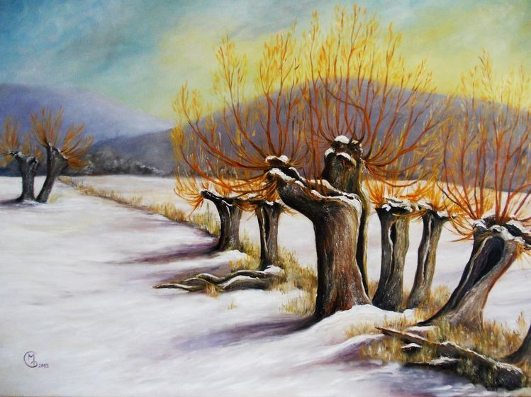 Winter, Weiden, Schnee, Landschaft, Malerei