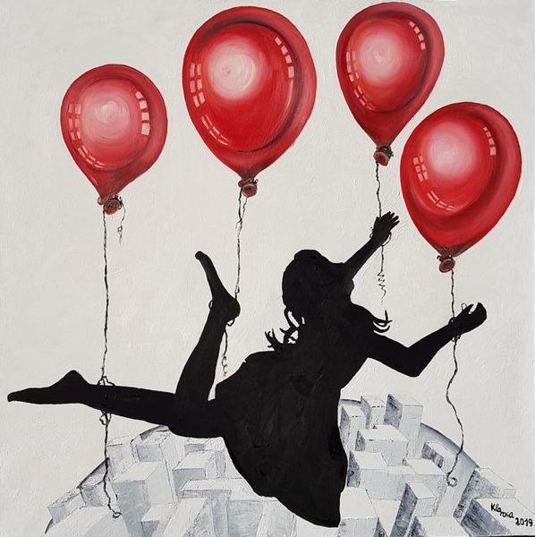 Erde, Ballon, Rot schwarz, Hochhaus, Fliegen, Malerei