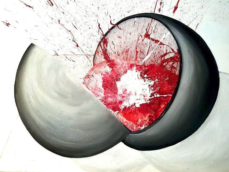 Farbbombe, Farbspritzer, Rot schwarz, Acrylmalerei, Explosion, Ölmalerei