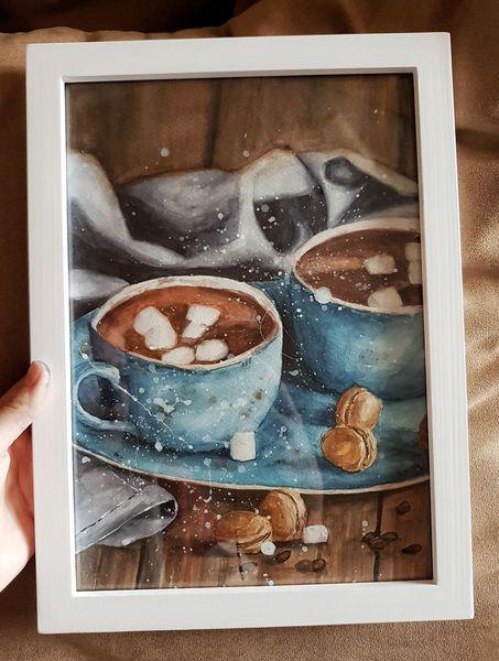 Blau, Rahmen, Tisch, Trinken, Kakao, Holz