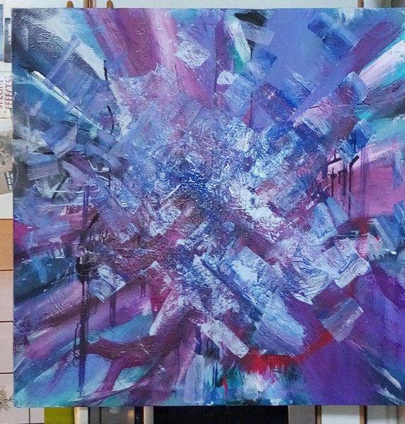 Lila, Modern, Blau, Gemälde, Grün, Fantasie