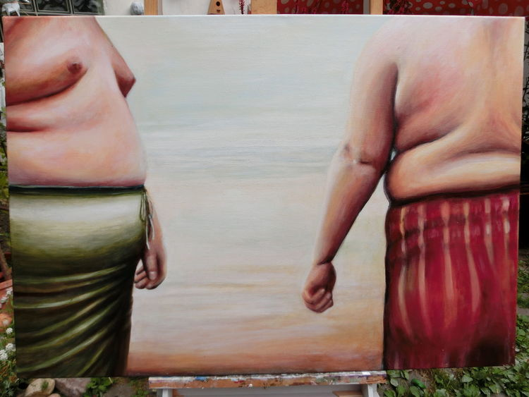 Ölmalerei, Skuril, Figural, Wohlstand, Malerei