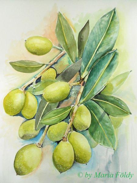 Malerei, Früchte, Sonne, Pflanzen, Spanien, Blätter