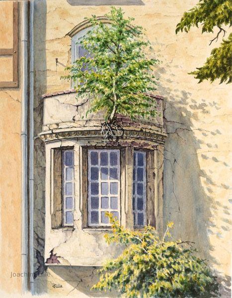 Malerei, Balkon, Birken, Aquarellmalerei, Aquarell