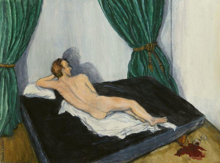 Schatten, Körper, Rücken, Akt, Wand, Malerei