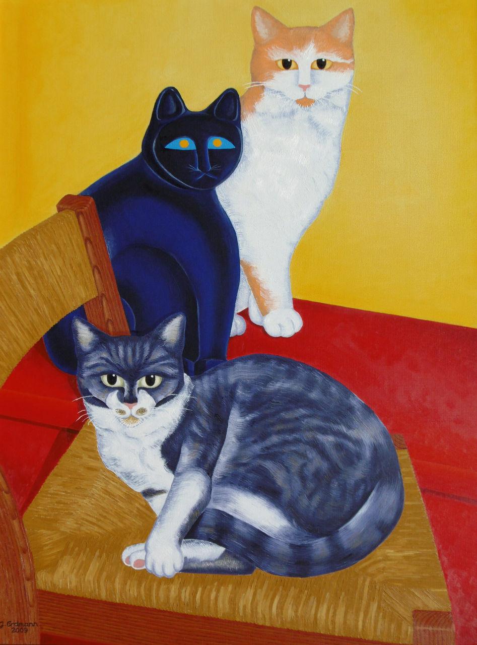 3 katzen katze stillleben katzenstillleben malerei von jens n h erdmann bei kunstnet. Black Bedroom Furniture Sets. Home Design Ideas