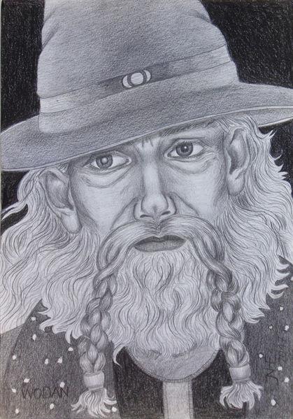 Germanisch, Lumograph, Zeichnung, Nachtgott, Portrait, Lumograph black