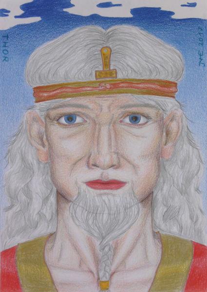 Zeichnung, Thor, Symbolismus, Mythologie, Polychromos, Zeichnungen
