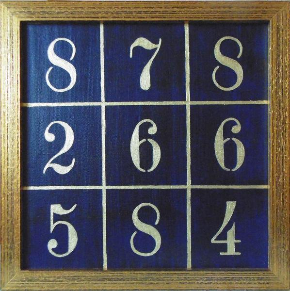 Aufsteller, Zahlen, Quadrat, Malerei