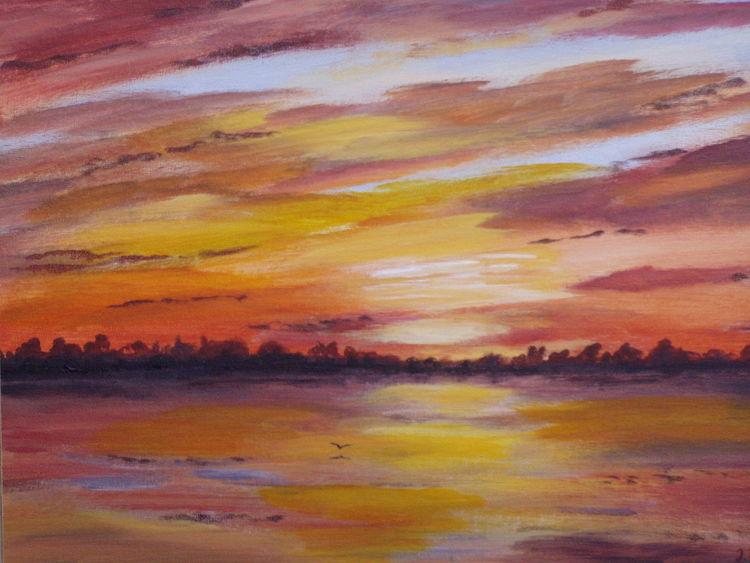 Wasser, Abend, Stimmung, Wolken, Himmel, Malerei