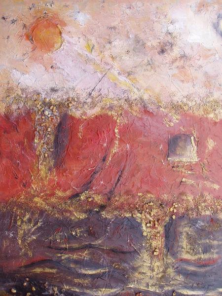 Braun, Struktur, Beige, Gold, Rot, Malerei
