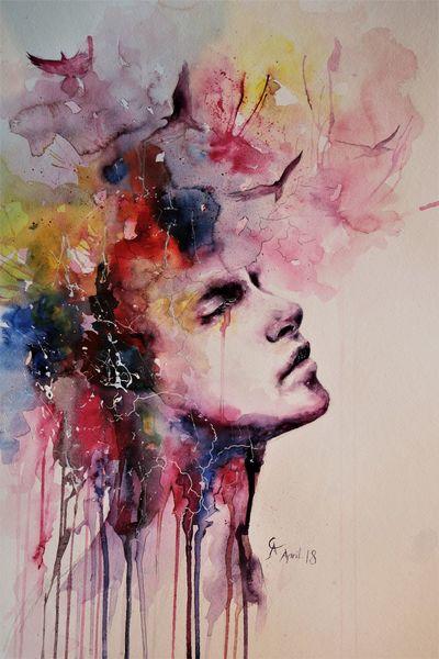 Gedanken, Regen, Menschen, Aquarellmalerei, Rauch, Farben