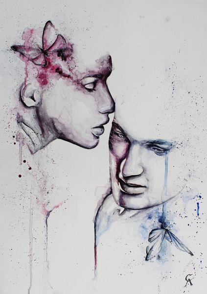 Frau, Traum, Regen, Farben, Abstrakt, Gedanken