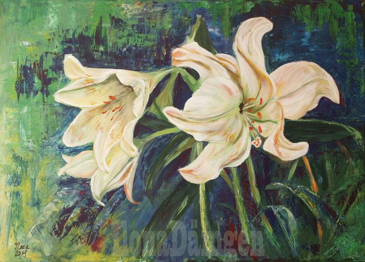 Weiße lilien, Pflanzen, Blumen, Lilien, Stillleben, Malerei