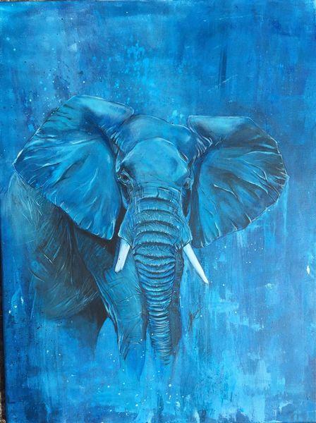 Afrika, Wildtiere, Blau, Elefant, Malerei