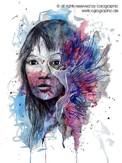 Surreal, Lila, Aquarellmalerei, Meerschnecke, Wasser, Portrait