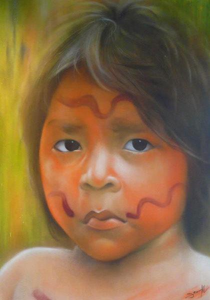 Urwald, Menschen, Portrait, Graffiti, Indio, Grün