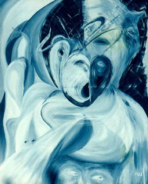 Malerei, Acrylmalerei, Blickwinkel, Blau, Zerrissenheit