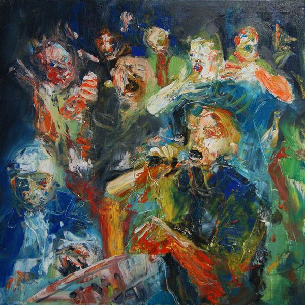 Menschen, Karaoke, Figural, Ölmalerei, Party, Malerei