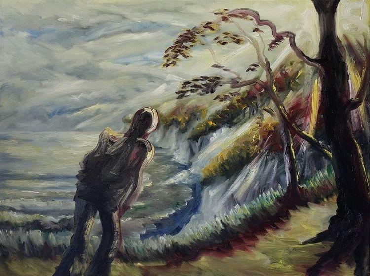 Weg, Wanderer, Ufer, Rügen, Herbst, Malerei