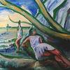 Strand, Menschen, Baum, Malerei