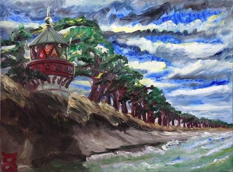 Leuchtturm, Turm, Ostsee, Dünen, Meer, Malerei