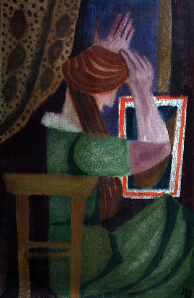 Malerei, Spiegel, Frau